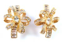 Large Vintage Style Rhinestone Studded Clip On Statement Earrings By Monet.